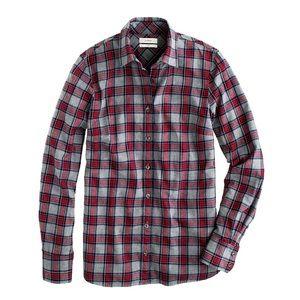 EUC J.Crew Boy Shirt in Grey Tartan